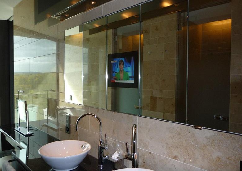 mirror tv public toilet